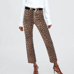 Zara Leopard Print High Waist Jeans